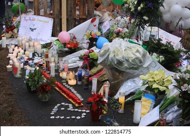 NEWTOWN, CT., USA, DEC 16, 2012: Sandy Hook Elementary School shooting, Memorial set up for shooting victims, Dec 16, 2012 in Newtown, CT., USA