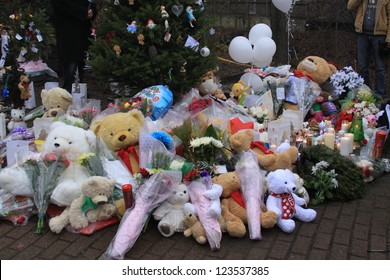 NEWTOWN, CT., USA-DEC. 16: Sandy Hook Elementary School shooting, Assorted Memorial for victims of the shooting, Dec 16, 2012 in Newtown, CT., USA