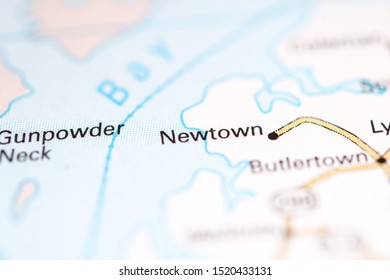 Newtown. Maryland. USA on a geography map