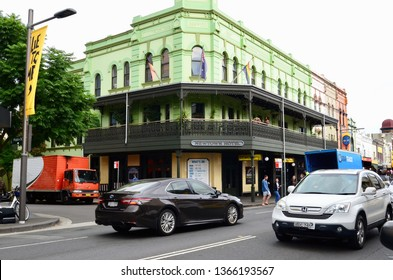Newtown, New South wales, Australia. April 2019. A street scene in the Sydney suburb of Newtown featuring the Newtown Hotel.