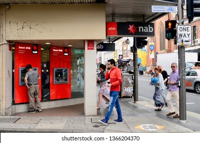 Newtown, New South Wales, Australia. April 2019. A street scene in the inner Sydney suburb of Newtown featuring the NAB Bank.