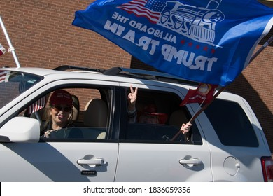 Newtown, Pennsylvania, USA - 10/17/2020: supporters of President Donald Trump line up in cars, trucks and motorcycles and ride in Pennsylvania, from Newtown to Doylestown as part of a Trump parade.