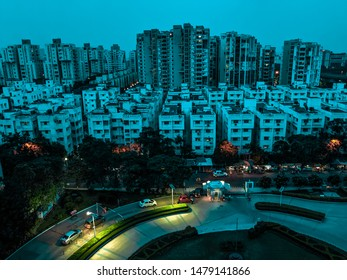 Newtown Rajarhat, Kolkata, West Bengal, India - June 2019 : Skyline of Kolkata, Residential area in Rajarhat smart city