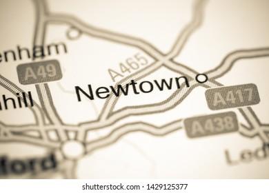 Newtown. United Kingdom on a map