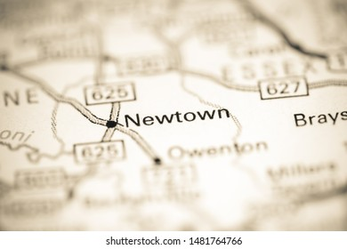Newtown. Virginia. USA on a geography map