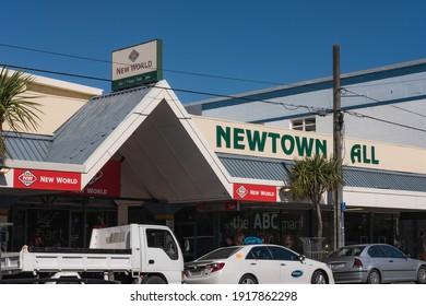 Newtown, Wellington  New Zealand - January 13th 2021: Newtown Mall and New World