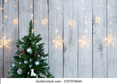 NewYear photo zone with Christmas tree and stars