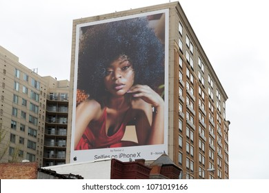 Newyork, April 2 2018: Apple Iphone X Advertisement. Smartphone developed marketed by Apple Inc. adopting OLED screen technology, wireless charging and Face IDnew authentication method