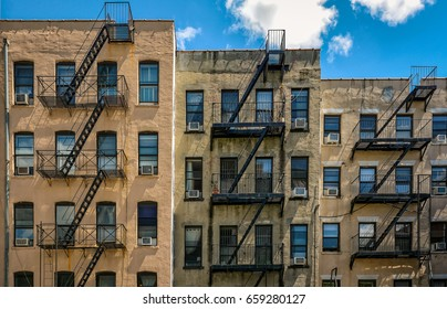 New-York buildings with outside fire escape stairs