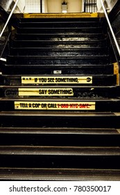 "New-York - NOV 14: ""If you see something, say something"" sign on subway station's staircase in New-York, USA on November 14, 2012."