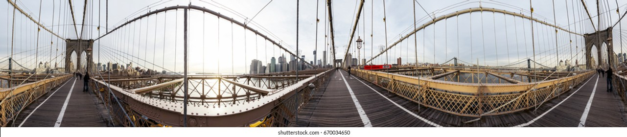 NEW-YORK - NOV 15: 360 degrees panorama as seen from the Brooklyn Bridge in New York, USA on November 15, 2012.