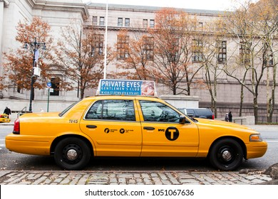 New-York, USA - NOV 19: Parked yellow taxi on November 19, 2012 in New-York, USA.