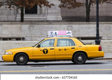 New-York, USA - NOV 19: Yellow taxi on the street on November 19, 2012 in New-York, USA.