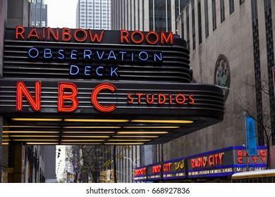 New-York, USA - NOV 20: The NBC logo on the NBC building on November 20, 2012 in New-York, USA.