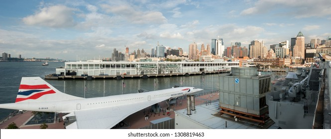 NEW-YORK, USA - SEPTEMBER 29, 2009: Panoramic view of The British Airways Concorde Alpha Delta G-BOAD displayed on the USS Intrepid Museum. New York City. USA