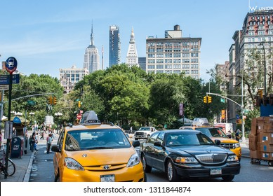 NEW-YORK, USA - SEPTEMBER 29, 2009: New York Yellow Taxi and other cars on New York streets. USA