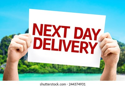 Next Day Delivery card with a beach on background
