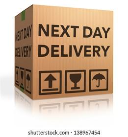 next day delivery urgent package shipment deliver order cardboard box