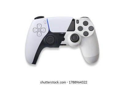 Next Generation vs actual generation White game controller on white background