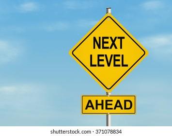 Next Level. Road sign on sky background. Raster