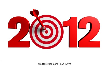 Next New Year 2012 whit a red and target and dart - 3d render business concept