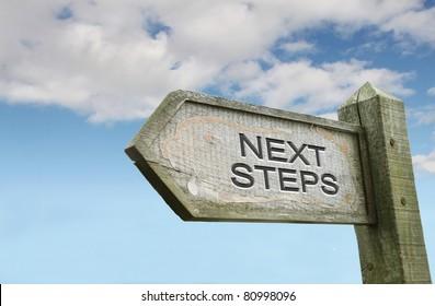 Next Steps Old Wooden Sign