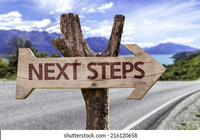 Next Steps wooden sign with a road background