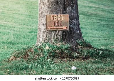 Next Tee Sign by Golf Ball