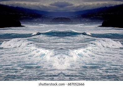 The next tsunami, Tenerife, Canary Islands, Spain,Symmetrical photographs,  magical realism,surreal photography,abstract,magical picture just for crazy,sea, ocean,blue,foam,fear,danger,cliffs,water,