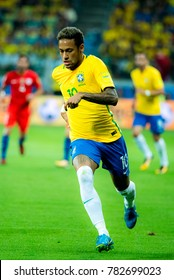 Neymar during the match between Brazil and Chile for the 2018 FIFA World Cup Russia Qualifier at Allianz Parque Stadium on October 10, 2017 in Sao Paulo, Brazil.