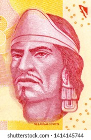 Nezahualcoyotl portrait from Mexican money 100 pesos (2015) banknote, Mexicon money currency. Close Up UNC Uncirculated - Collection.