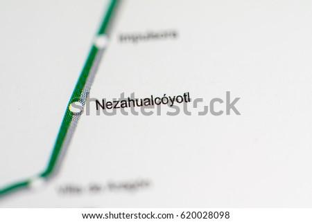 Nezahualcoyotl Mexico Map.Nezahualcoyotl Station Mexico City Metro Map Stock Photo Edit Now