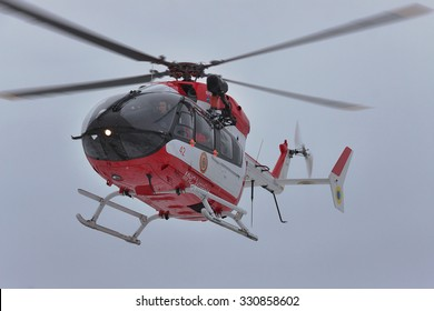 Nezhin, Ukraine - January 14, 2011: Ukrainian Ministry of Emergency Situations Eurocopter EC145 (BK-117) rescue helicopter in flight