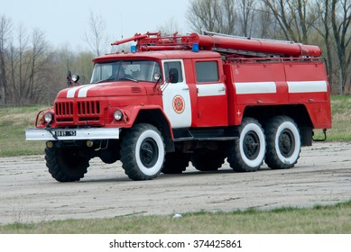 Nezhyn, Ukraine - April 15, 2009. The aerodrome fire rescue vehicle provides flight safety at the air base.