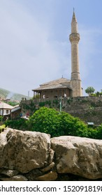 Nezir Agina Mosque in Mostar, Bosnia and Herzegovina - Old town of Mostar, Bosnia and Herzegovina, April 2019