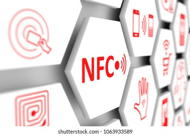 NFC concept cell blurred background 3d illustration