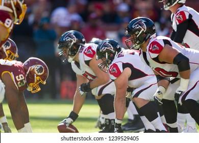 NFL - Players in the field -  Washington Redskins host Atlanta Falcons at Fedex Field Stadium in Largo Maryland, on November 4th, 2018 USA