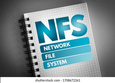 NFS - Network File System acronym, technology concept background