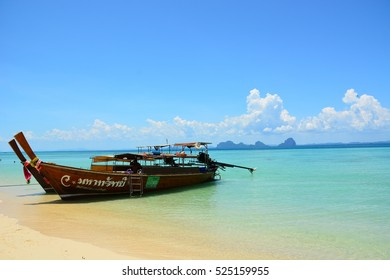 Ngai island, Krabi, Thailand - 7 May, 2015: Long tail boat on the beach at Ngai island Krabi province Thailand