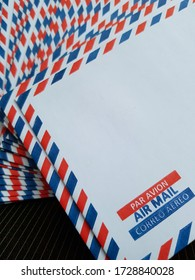 NGANJUK, INDONESIA - MAY 12, 2020: The small envelopes with red and blue stripped are ready to use in Nganjuk, Indonesia.