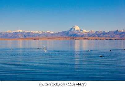 Ngari scenery in Tibet- Kangrinboqe Peak and Lake Manasarovar. Taken on the Ngari(Ali), Tibet, China