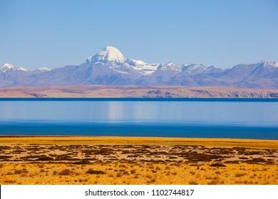 Ngari scenery in Tibet- Kangrinboqe Peak and Lake Manasarovar. Taken on the Ngari(Ali), Tibet, China