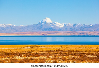 Ngari scenery in Tibet- Kangrinboqe Peak and Lake Manasarovar. Taken on the Ngari(Ali), Tibet, China.
