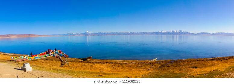 Ngari scenery in Tibet- Kangrinboqe Peak and Lake Manasarovar. Taken on the Ngari(Ali), Tibet, China.