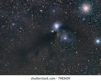 NGC 6723 dusty nebula and NGC 6727 globular cluster in Corona Australis