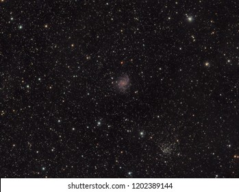 The NGC 6946 also known Fireworks galaxy as in Cepheus constellation with a huge amount of stars as background, taken with refractor telescope.
