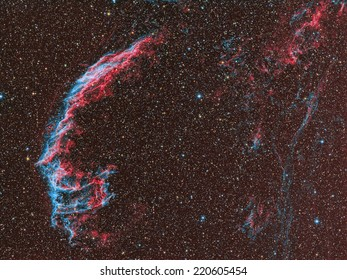 NGC6992 Veil Nebula Eastern Part imaged with a telescope and a scientific CCD camera