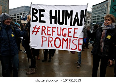 NGO Action Lets bring them Here by Refugees Welcome campaign Supporters organisations organise demonstration to bring refugees from Greece to Northern Europe in Brussels on 6 Mar. 2017