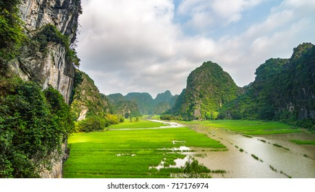 The Ngo Dong River, near Tam Coc village, at the Trang An UNESCO World Heritage site in Ninh Binh, Vietnam.