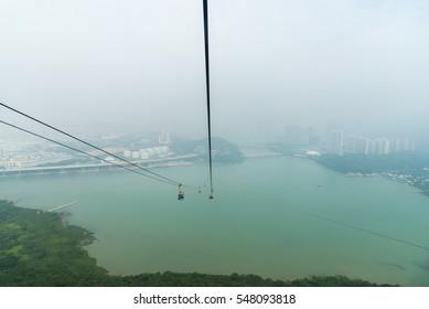 Ngong Ping 360 cable car on Lantau Island, Hong Kong. Cable car to mountain.